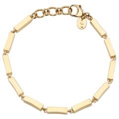 Handcrafted Full Bar Yellow Gold Bracelet