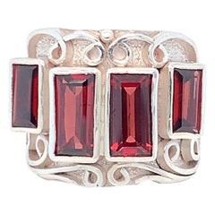 Handcrafted Garnet One of a Kind Sterling Silver Cocktail Ring