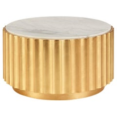 Gold Leaf Contemporary Round Coffee Table with White Marble Top