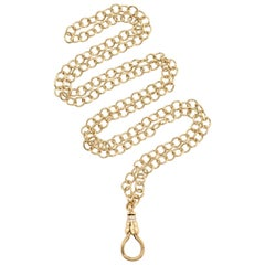 Handcrafted Gold Link Chain with Diamond Charm Clasp