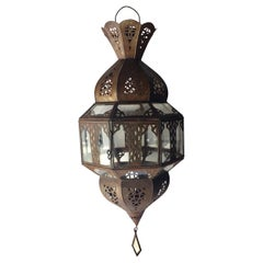 Handcrafted Moroccan Metal and Glass Lantern, Octagonal Shape
