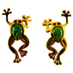 "Handcrafted Green Enamel Yellow Gold Stud ""Frog"" Earrings"