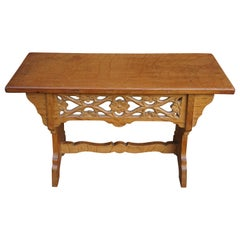 Handcrafted and Hand Carved Gothic Revival Hall Bench or Stool Made of Solid Oak