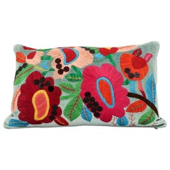 Handcrafted Hand Embroidered Floral Pillow with Sequin Highlight
