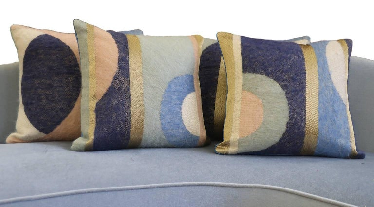Handcrafted Hand Embroidered Geometric Mohair and Metallic Yarn Pillow In New Condition For Sale In London, GB