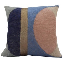 Handcrafted Hand Embroidered Geometric Mohair and Metallic Yarn Pillow
