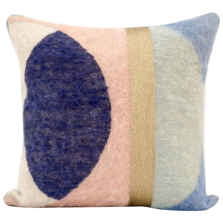 Handcrafted Hand Embroidered Geometric Mohair and Metallic Yarn Pillow For Sale