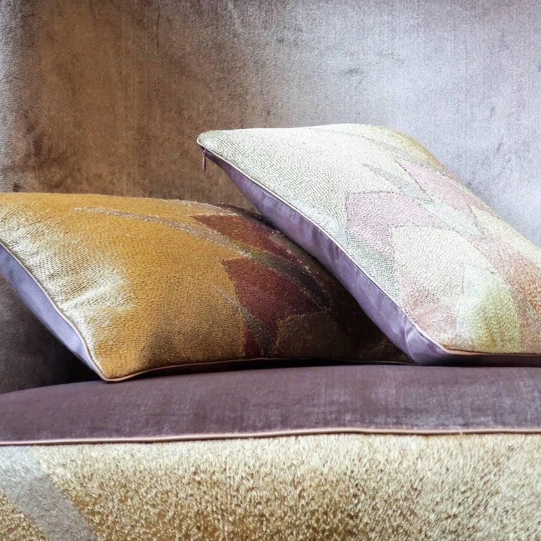 Handcrafted Hand Embroidered Metallic Silk Yarn Pillows Infinity Star Design In New Condition For Sale In London, GB