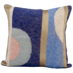 Handcrafted Hand Embroidered Mohair and Metallic Yarn Pillow
