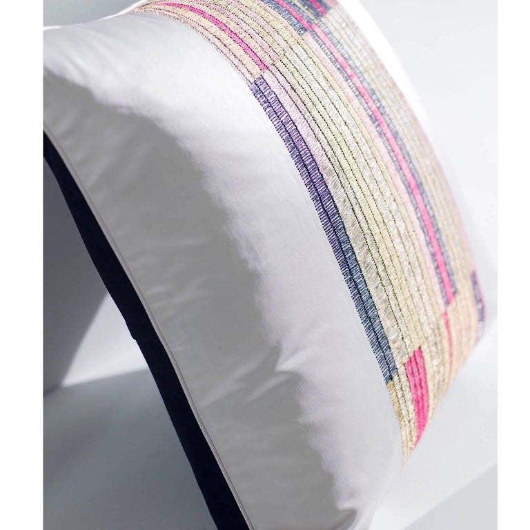 Handcrafted Pillow hand embroidered in an adaption of a traditional blanket stitch.