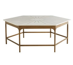 Handcrafted Hexagonal Marble Coffee Table with Brass Inlay