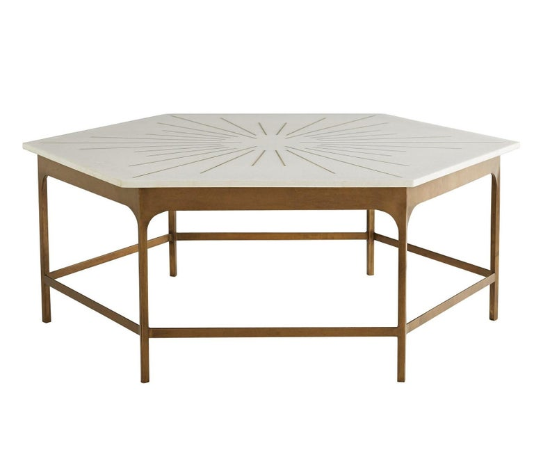 Hexagonal White Marble Coffee Table Handcrafted With Brass Inlay For