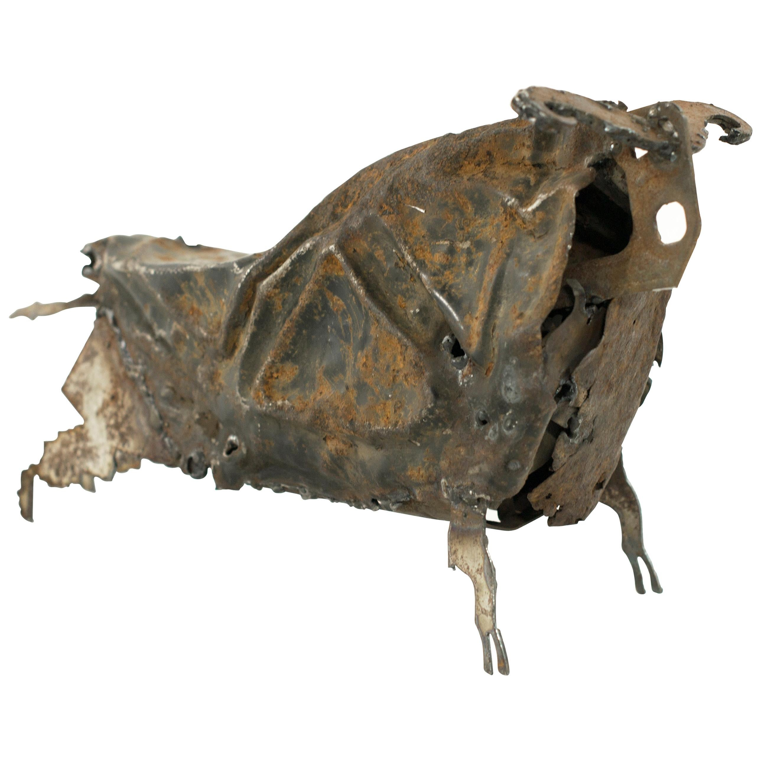 Handcrafted Iron Bull Sculpture, circa 1980s