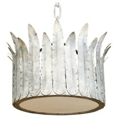 "Handcrafted Iron ""Fairfield"" Crown Light in Silver"