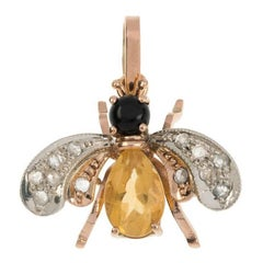 Handcrafted Italian 0.50 Carat Rose Gold Topaz, Onyx and Diamond Bee Pendant