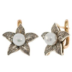 Handcrafted Italian Cultured Pearl and 0.55 Carat Diamond Flower Earrings
