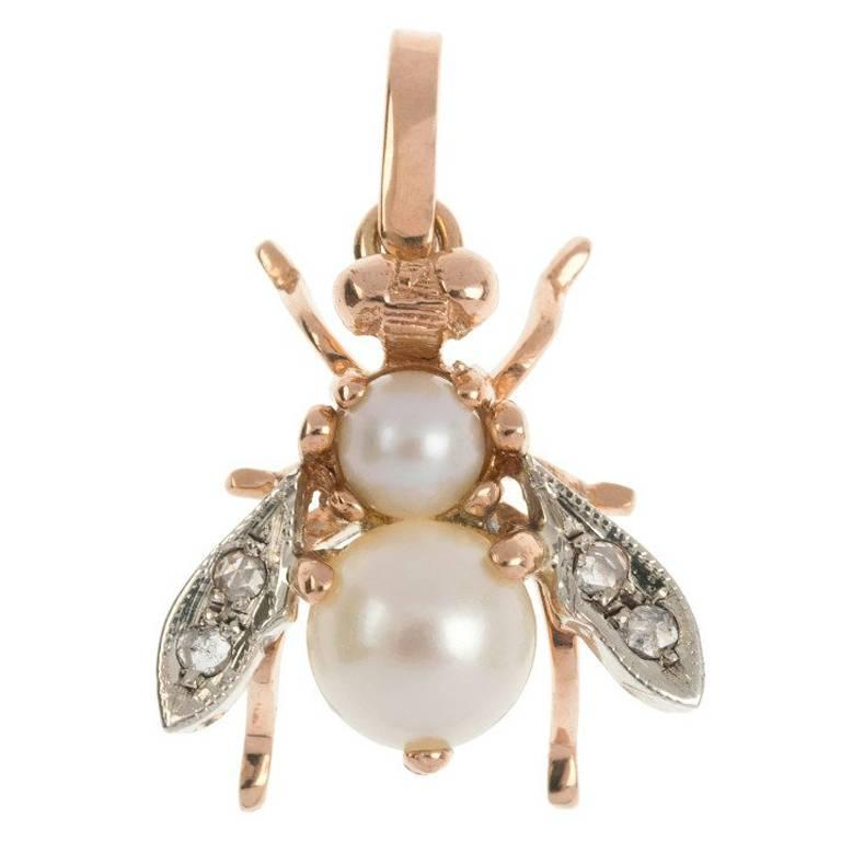 Handcrafted italian 9 carat rose gold pearl and diamond bee pendant handcrafted italian 9 carat rose gold pearl and diamond bee pendant for sale aloadofball Image collections