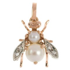 Handcrafted Italian 9 Carat Rose Gold Pearl and Diamond Bee Pendant