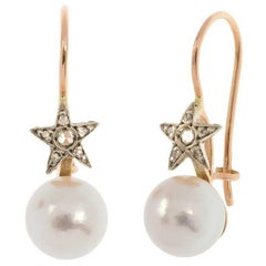 Handcrafted Italian Cultured Pearl and Star Enhancement Diamond Drop Earrings
