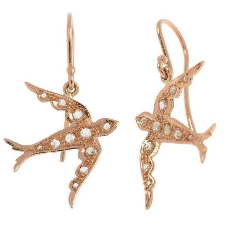 Handcrafted Italian Diamond Swallow Drop Earrings