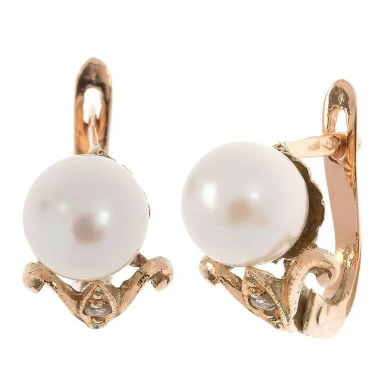 Handcrafted Italian Rose Gold Cultured Pearl Earrings For