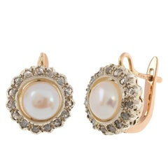 Handcrafted Italian Rose Gold Cultured Pearl and 0.40 Carat Diamond Earrings