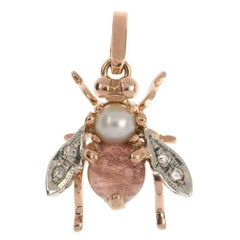 Handcrafted Italian Rose Gold Pearl and Rose Quartz Bee Pendant