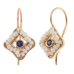 Handcrafted Italian Rose Gold Sapphire and Seed Pearl Drop Earrings