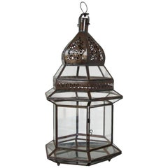 Handcrafted Large Moroccan Clear Glass Candle Lantern
