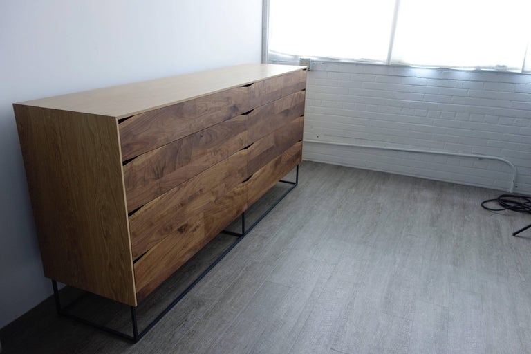 Welded Handcrafted Large Walnut and White Oak and Steel Modern Dresser For Sale