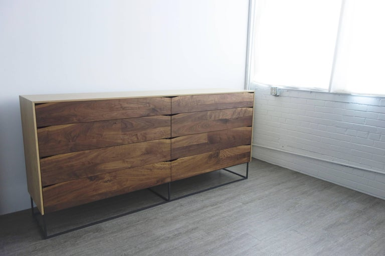 Handcrafted Large Walnut and White Oak and Steel Modern Dresser In New Condition For Sale In St. Paul, MN