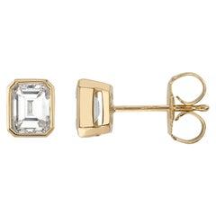 Handcrafted Leah Emerald Cut Diamond Stud Earrings by Single Stone