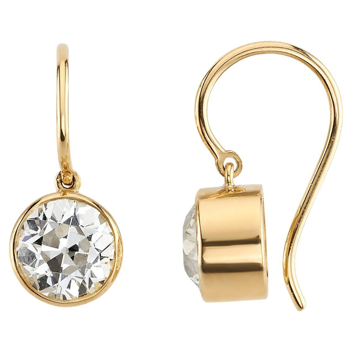 Handcrafted Lucia Old European Cut Diamond Drop Earrings by Single Stone
