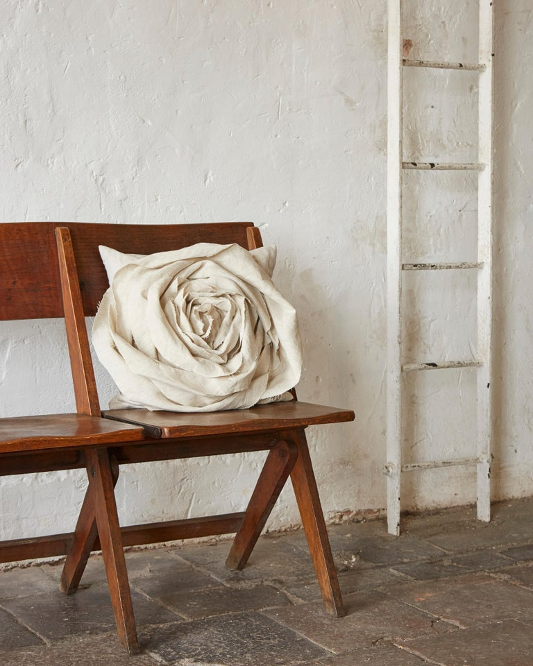 Northern Irish Handcrafted Luxury Vintage Irish Linen Beige Rose Cushion Pillow For Sale