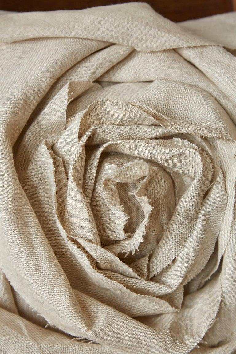 Handcrafted Luxury Vintage Irish Linen Beige Rose Cushion Pillow In Excellent Condition In Belfast, Northern Ireland