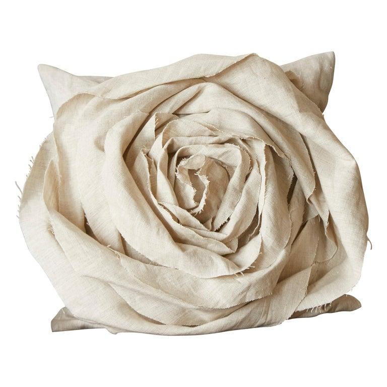 Handcrafted Luxury Vintage Irish Linen Beige Rose Cushion Pillow