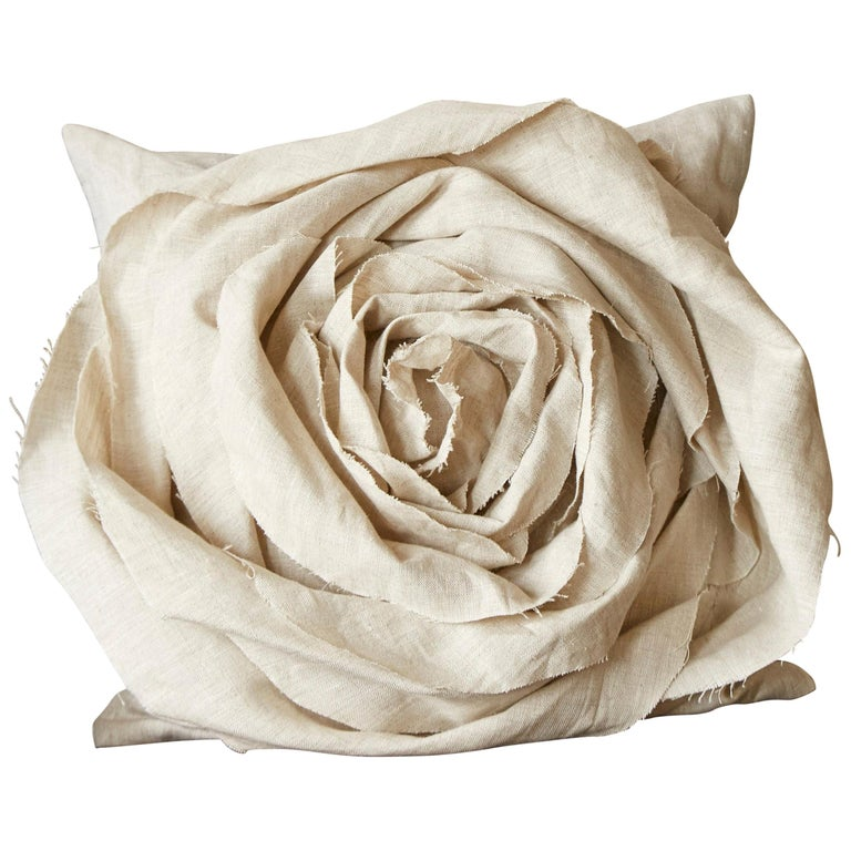 Handcrafted Luxury Vintage Irish Linen Beige Rose Cushion Pillow For Sale
