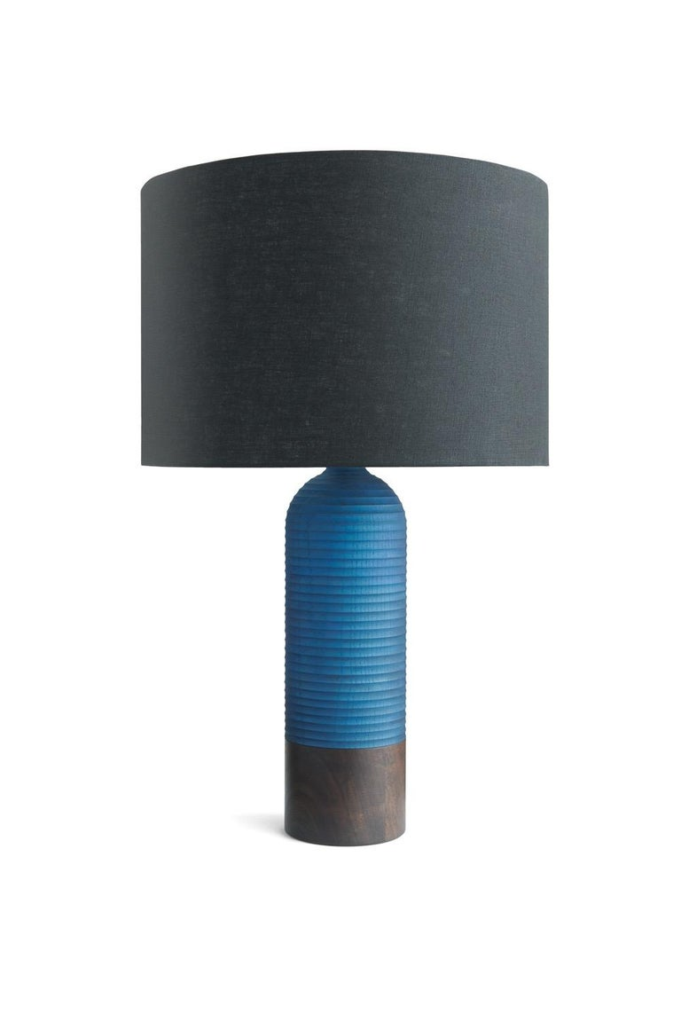 Turned Handcrafted Magnum Lamp of Graphite Ash and Walnut For Sale