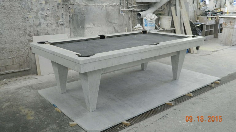 """Looking for the ultimate centerpiece for game room or library from the artisans at Blatt Billiards? Consider a magnificent work of art in stone.  Sourced from the very same Tuscan stone quarry that Michelangelo used to create """"David"""", this"""