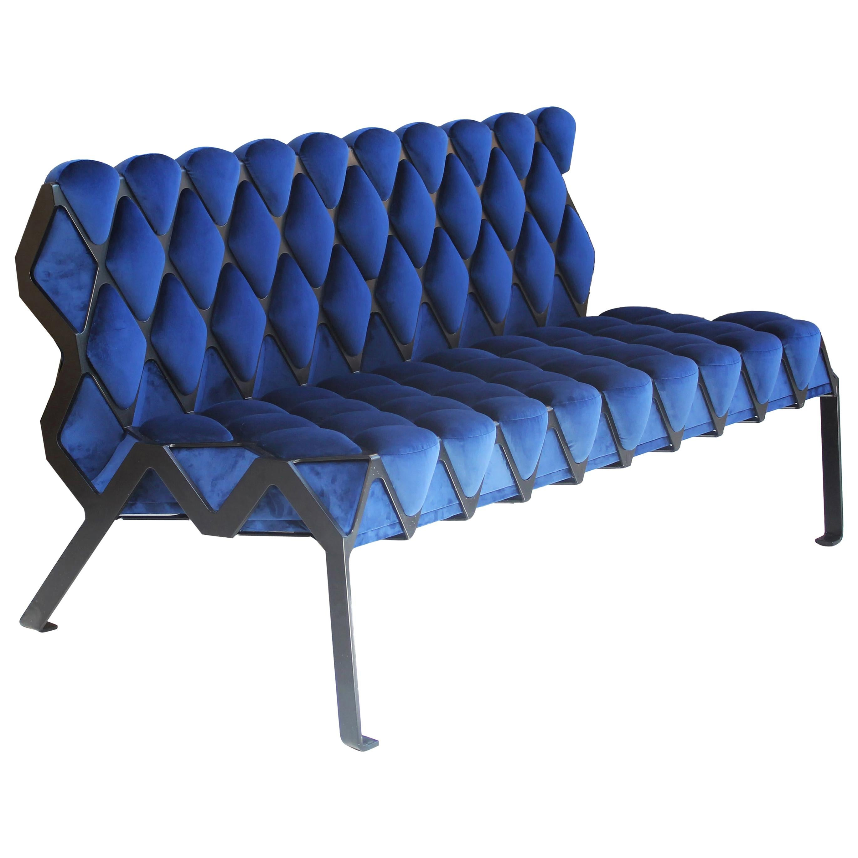 Handcrafted Matrice Settee in Black Steel and Blue Velvet Customizable