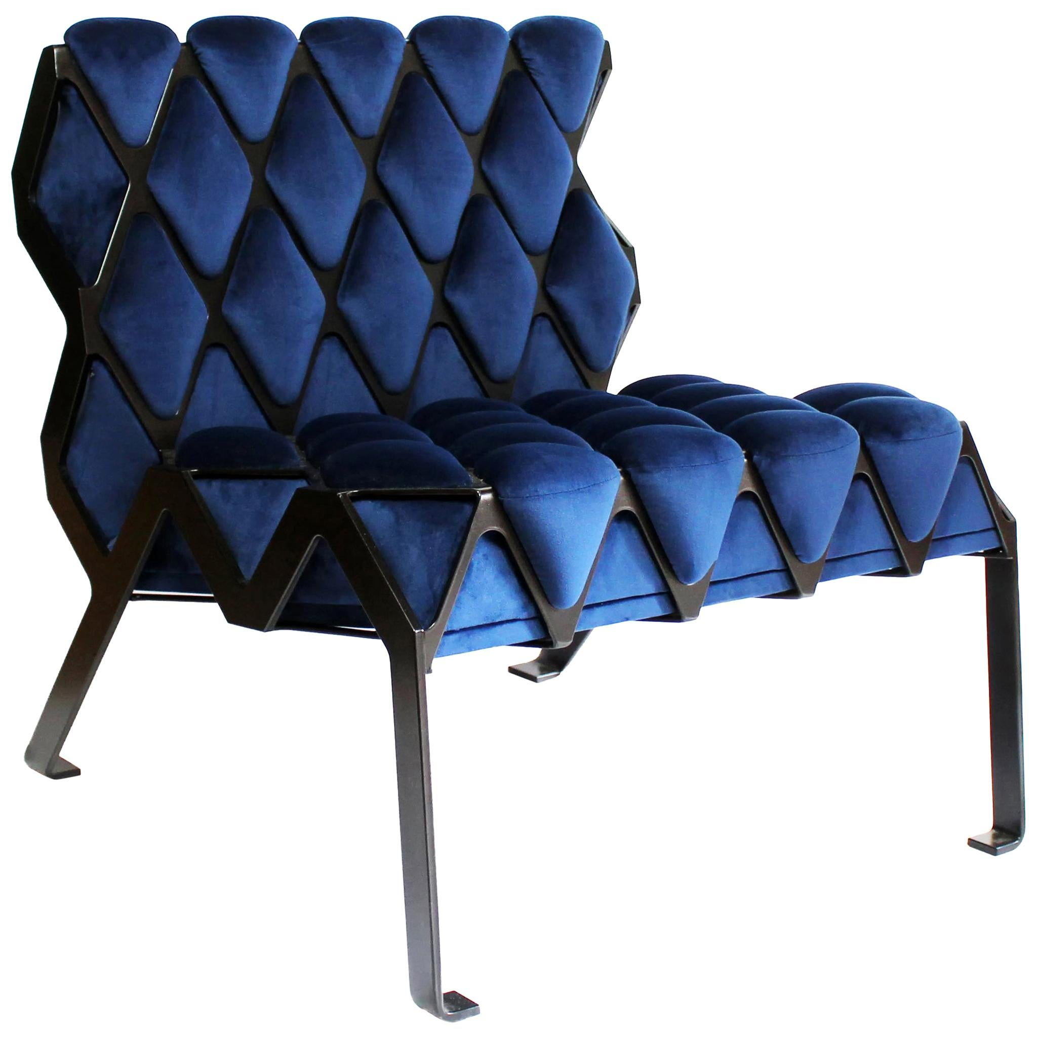 Handcrafted Matrice Chair in Gold Steel and Blue Velvet