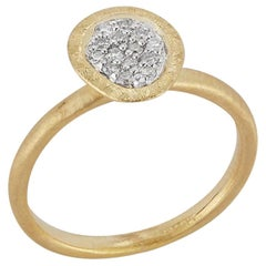 Handcrafted Matte-Finished Free Form-Shaped Diamond Centered Ring