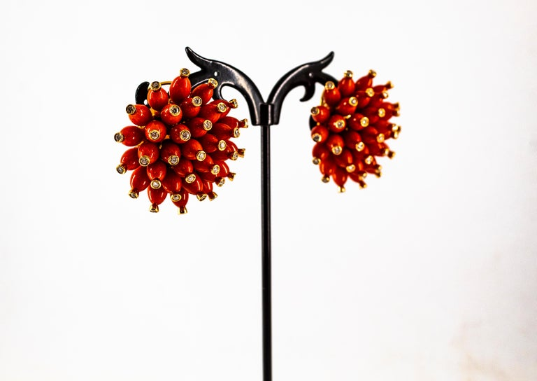 Handcrafted Mediterranean Red Coral White Diamond Yellow Gold Dangle Earrings For Sale 4