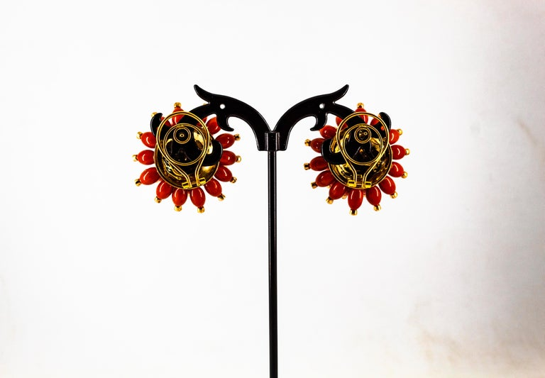 Handcrafted Mediterranean Red Coral White Diamond Yellow Gold Dangle Earrings For Sale 6