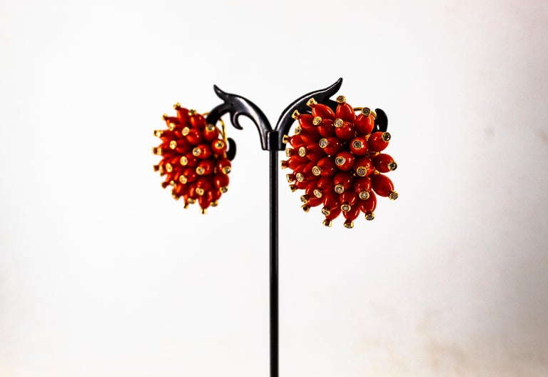 Handcrafted Mediterranean Red Coral White Diamond Yellow Gold Dangle Earrings For Sale 7