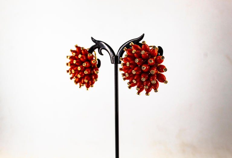 Handcrafted Mediterranean Red Coral White Diamond Yellow Gold Dangle Earrings For Sale 8