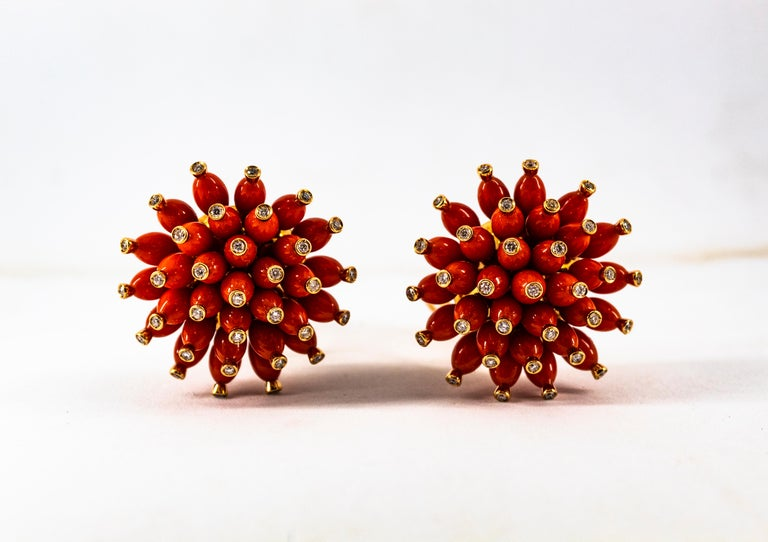 Handcrafted Mediterranean Red Coral White Diamond Yellow Gold Dangle Earrings For Sale 9