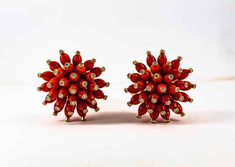 Handcrafted Mediterranean Red Coral White Diamond Yellow Gold Dangle Earrings For Sale 10
