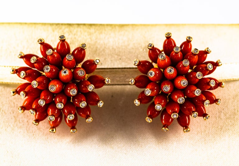 Art Nouveau Handcrafted Mediterranean Red Coral White Diamond Yellow Gold Dangle Earrings For Sale