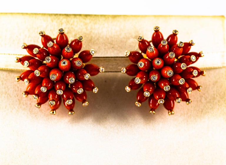 Brilliant Cut Handcrafted Mediterranean Red Coral White Diamond Yellow Gold Dangle Earrings For Sale